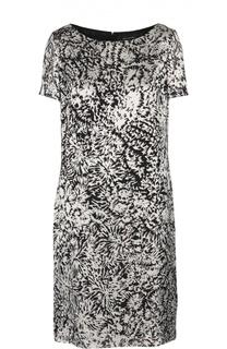 Платье прямого кроя с вырезом-лодочка и контрастным принтом St. John