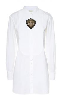Блуза прямого кроя с удлиненной спинкой и воротником-стойкой Dries Van Noten