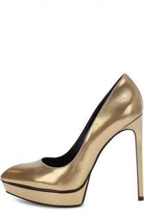 Туфли Janis из металлизированной кожи Saint Laurent