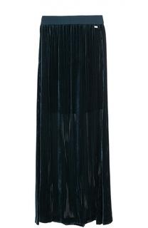 Бархатная плиссированная юбка-макси Escada Sport