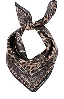 Шелковый платок с леопардовым принтом Roberto Cavalli