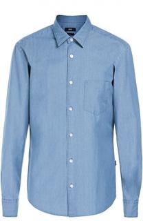 Хлопковая рубашка с нагрудным карманом BOSS