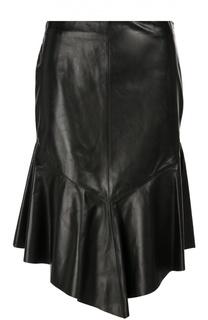 Кожаная юбка-миди асимметричного кроя Givenchy