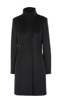 Приталенное шерстяное пальто с высоким воротником BOSS