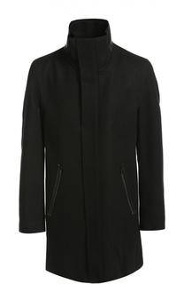 Шерстяное пальто свободного кроя с воротником-стойкой HUGO