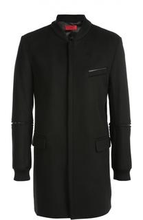Пальто из смеси шерсти и кашемира с потайной застежкой-молнией HUGO