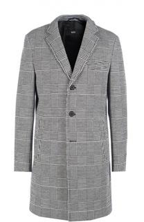 Однобортное пальто в клетку Prince of Wales с добавлением шерсти BOSS