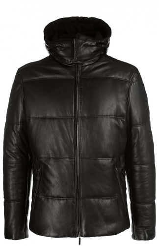 Утепленная кожаная куртка с капюшоном BOSS