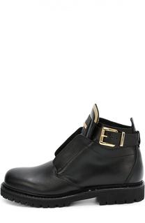 Кожаные ботинки с декоративным ремешком Balmain