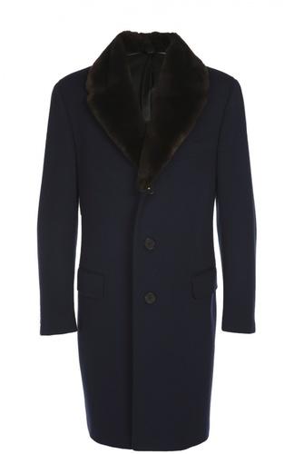 Пальто из шерсти с меховым воротником Canali