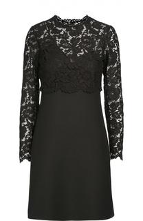Приталенное мини-платье с кружевной вставкой Valentino
