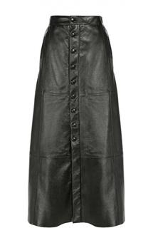 Кожаная юбка А-силуэта на пуговицах Saint Laurent