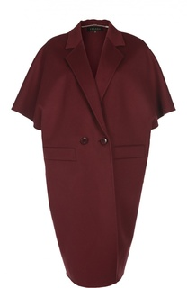 Двубортное пальто свободного кроя с укороченным рукавом Escada