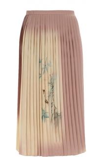 Шелковая плиссированная юбка с принтом Valentino