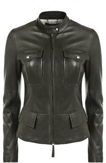 Кожаная куртка с накладными карманами и декоративной шнуровкой Roberto Cavalli