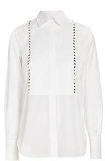 Приталенная блуза с планкой и металлическими шипами Valentino