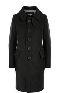 Шерстяное пальто прямого кроя с накладными карманами Dsquared2