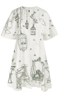 Пальто свободного кроя с укороченным рукавом и контрастным принтом Dolce & Gabbana