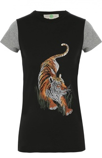 Удлиненная футболка с контрастными рукавами и вышивкой в виде тигра Stella McCartney