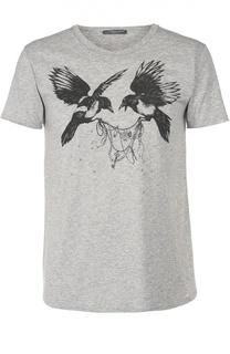 Хлопковая футболка прямого кроя с контрастным принтом Alexander McQueen