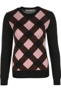 Пуловер из смеси шерсти и шелка с круглым вырезом Marni