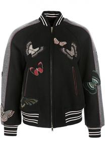 Куртка-бомбер с вышивкой бисером Valentino