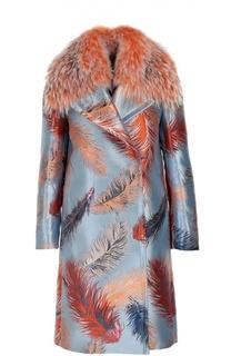 Пальто прямого кроя с отделкой из меха енота и контрастным принтом Emilio Pucci
