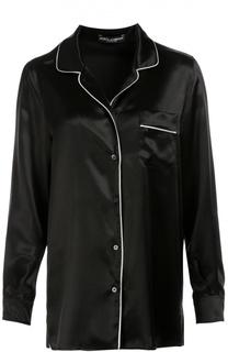 Шелковая блуза в пижамном стиле с контрастной отделкой Dolce & Gabbana