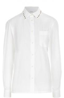 Блуза прямого кроя с накладным карманом и заклепками Valentino