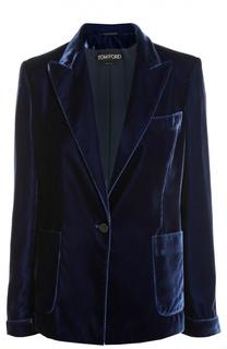 Приталенный бархатный жакет с накладными карманами Tom Ford