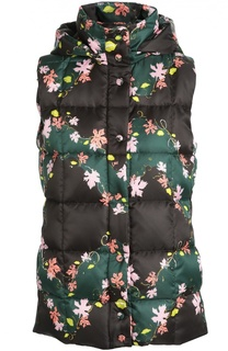 Стеганый жилет с цветочным принтом и капюшоном Emilio Pucci