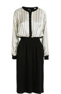 Приталенное платье с длинным рукавом и круглым вырезом Giorgio Armani