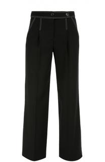 Шерстяные брюки прямого кроя с контрастной отстрочкой Giorgio Armani