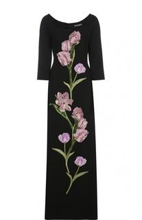 Платье в пол с укороченным рукавом и цветочной отделкой Dolce & Gabbana