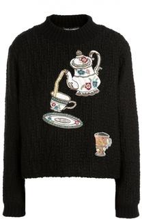 Пуловер фактурной вязки с вышивкой пайетками Dolce & Gabbana