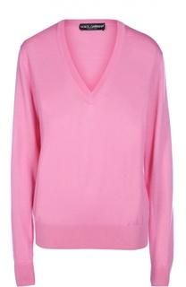 Кашемировый пуловер прямого кроя с V-образным вырезом Dolce & Gabbana