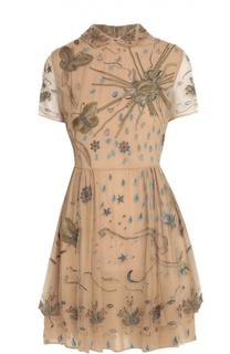 Приталенное платье с коротким рукавом и вышивкой Valentino