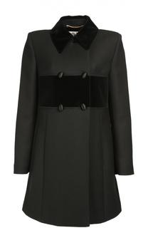 Двубортное пальто прямого кроя с отложным воротником Saint Laurent