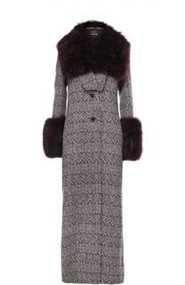Шерстяное пальто-макси с меховой отделкой Roberto Cavalli