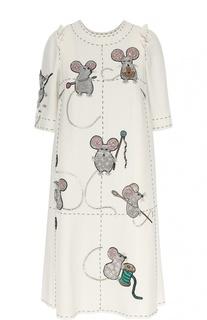 Платье прямого кроя с коротким рукавом и декоративной отделкой Dolce & Gabbana
