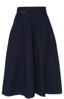 Джинсовая расклешенная юбка с бахромой Moncler