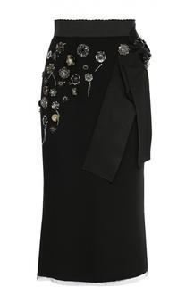 Юбка-карандаш с декоративной отделкой и широким поясом Dolce & Gabbana