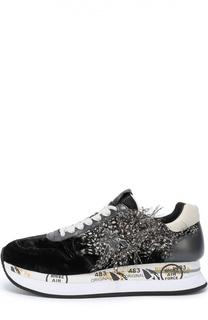 Комбинированные кроссовки Holly с отделкой пером Premiata