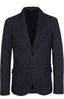 Однобортный пиджак из смеси шерсти и хлопка Armani Jeans