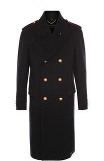 Шерстяное двубортное пальто с погонами и металлическими пуговицами Burberry Prorsum