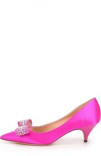 Атласные туфли с декорированным бантом Rochas