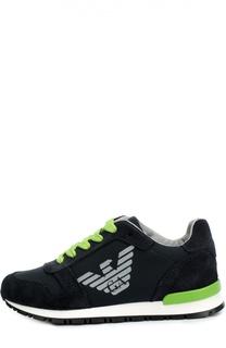 Замшевые кроссовки с текстильной вставкой Giorgio Armani