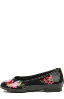 Лаковые балетки с цветочным принтом Dolce & Gabbana