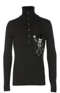 Шерстяной свитер с аппликацией и воротником на пуговицах Dolce & Gabbana
