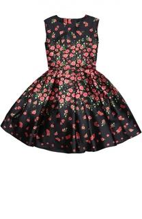 Платье с цветочным принтом и коротким рукавом Oscar de la Renta